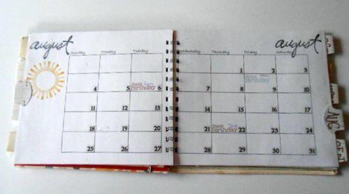 Day planner inside